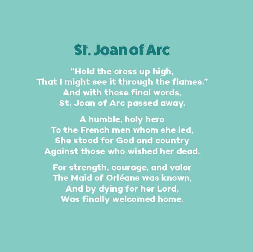 Image of the poem about St. Joan of Arc from the book All You Holy Women, Pray for Us!