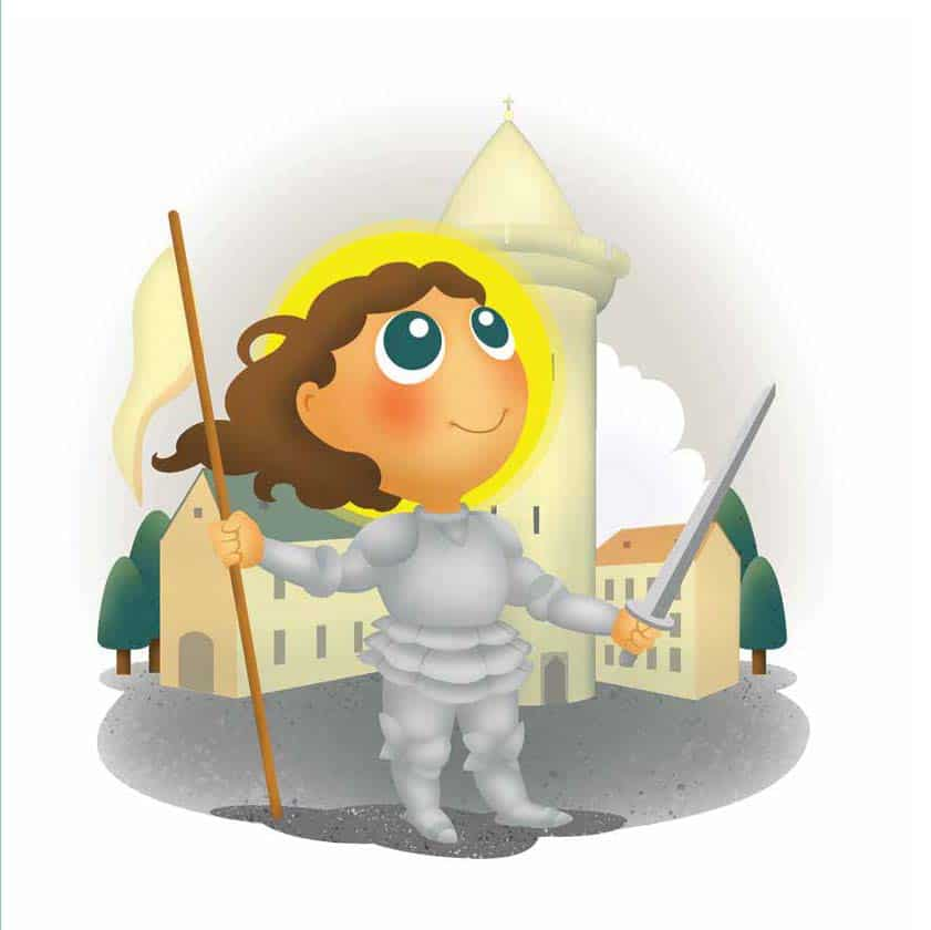 Drawn image of St. Joan of Arc