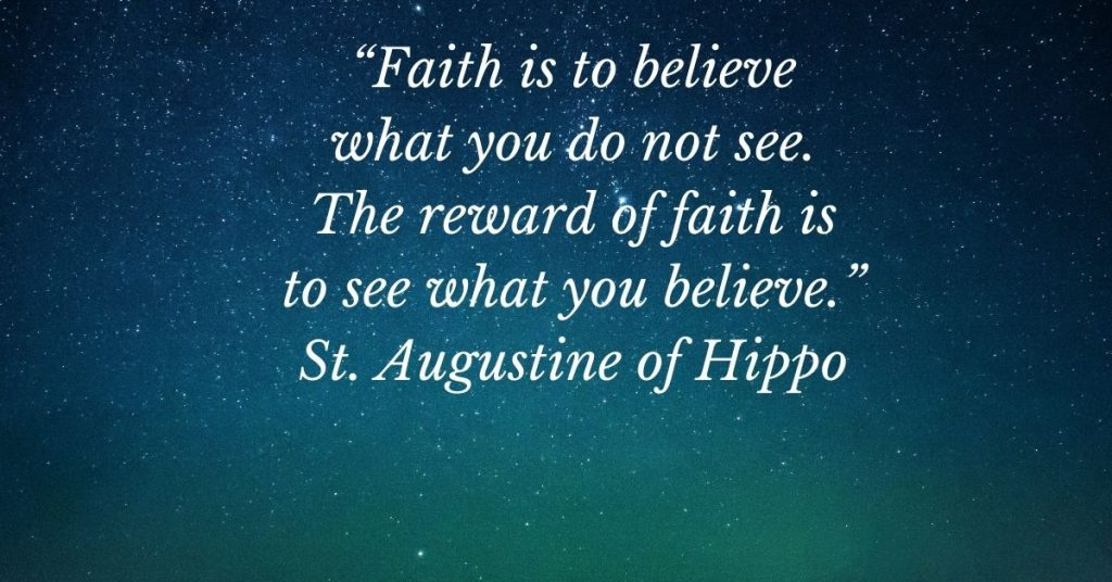 image of a starry sky with a quote by St. Augustine of Hippo written on it.