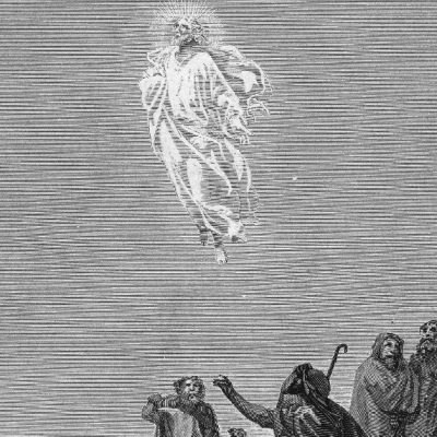 A grey and white image of a drawing of Jesus ascending into Heaven with the Apostles looking on and one of them reaching out for Him.