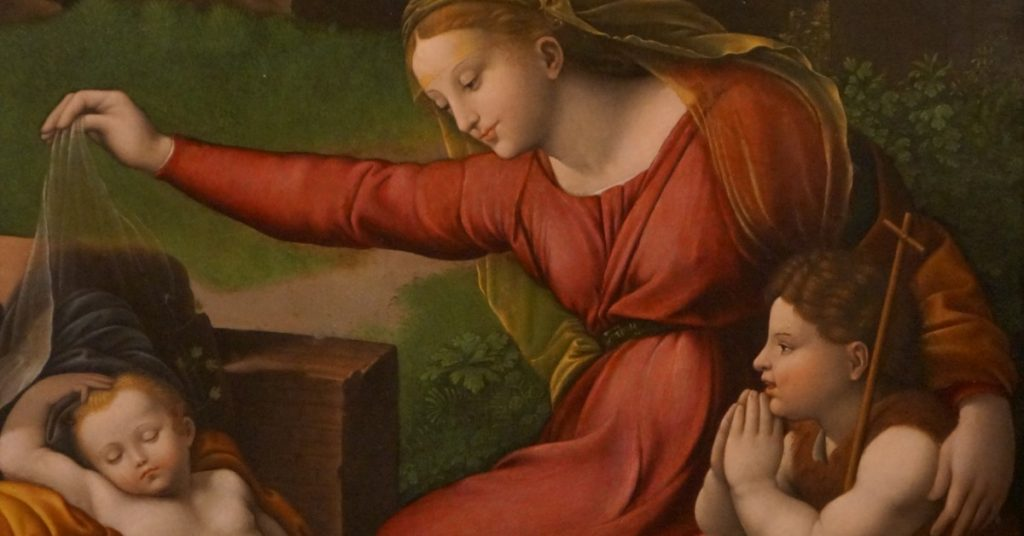 Image of a painting of the Blessed Virgin Mary showing St. John the Baptist Christ who is sleeping.