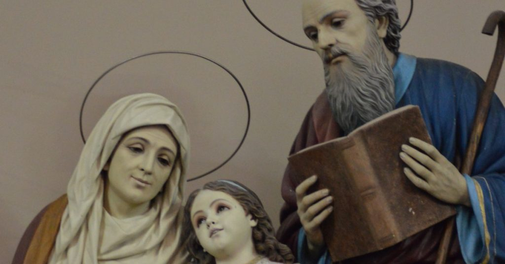 Image of staues of Saints Anne and Joachim with their young daughter-the Blessed Virgin Mary