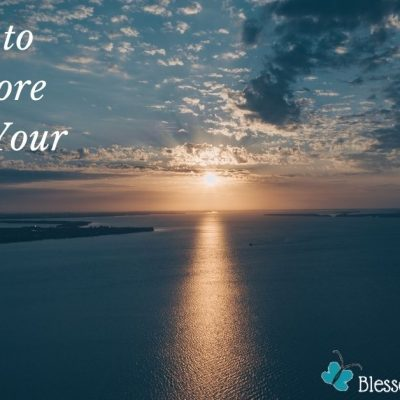 Image of a sunset over the ocean with blue as the dominant color in the ocean and the sky. The words 3 Ways to have More Peace in Your Life are typed on the image as well as the logo for Blessed Catholic Mom dot com.
