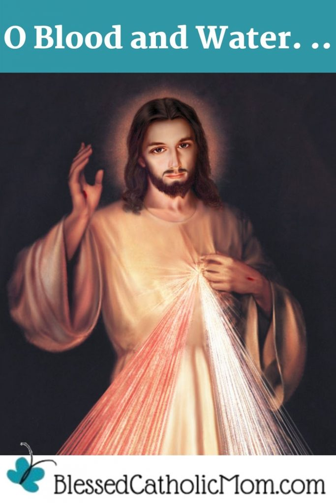 Image of a painting of Jesus' Divine mercy. The words of the prayer O Blood and Water... are above the image and the logofor Blessed Catholic Mom dot com are below the image.